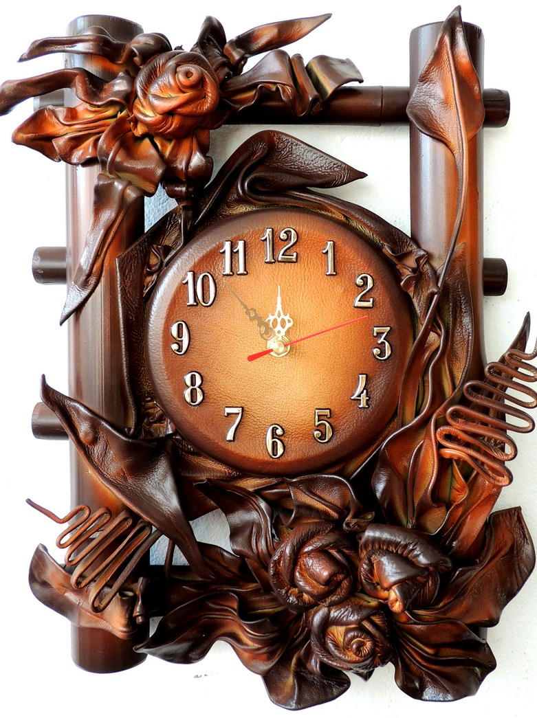 KONIAKOWY ZEGAR. BAMBOO LEATHER CLOCK STRAIGHT FROM MANUFACTURER