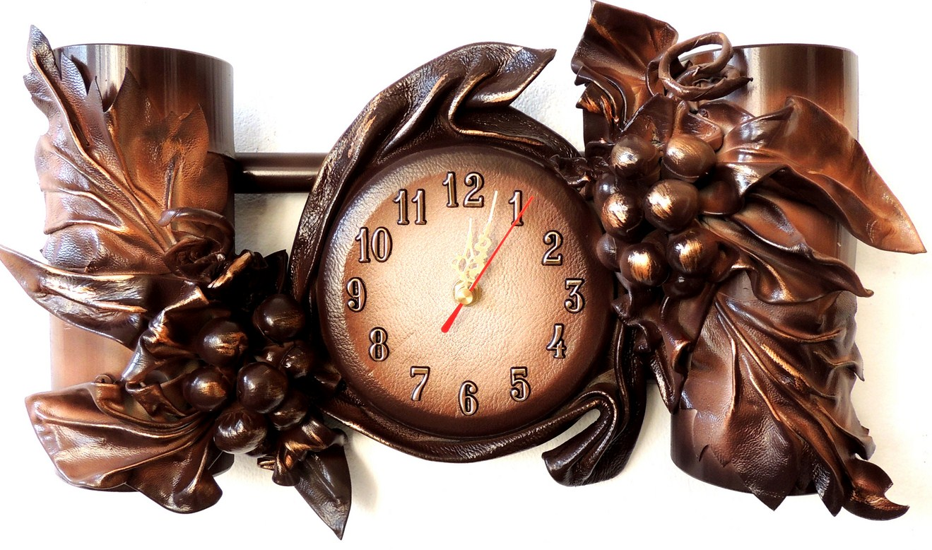 ZEGAR PREZNET NA JUBILEUSZ. LEATHER CLOCK. POLISH PRODUCER. FOR MANY OCCASIONS.